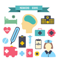 Multicolored icons with tape on topic medicine vector