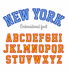 new york embroidered sport style font vector image