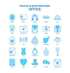 Office blue tone icon pack - 25 icon sets vector