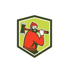 Paul Bunyan LumberJack Carrying Axe vector