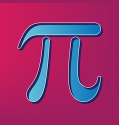 Pi greek letter sign blue 3d printed icon vector