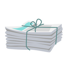 Pile newspapers bound with string on white vector