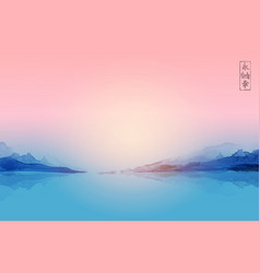 pink sunset over blue mountains and calm water vector image