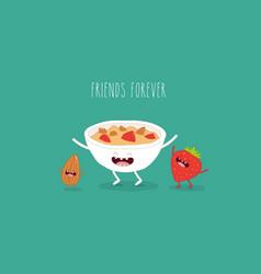Plate muesli seed strawberry friends vector