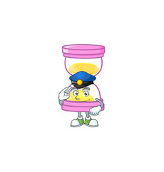 Police cartoon sandglass with character mascot vector