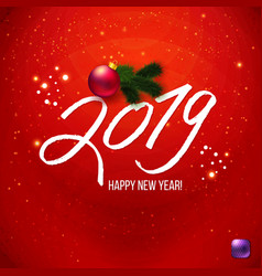 red happy new year poster 2019 vector image