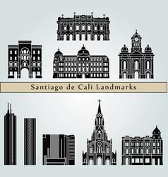 santiago de cali landmarks vector image