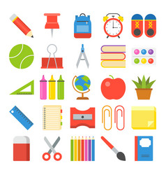 school supplies icon set in flat design for back vector image