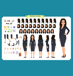 set of businesswoman character design asian vector image