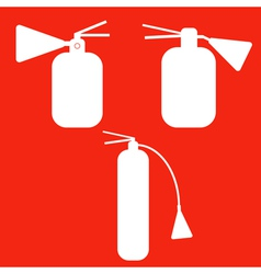 Set of Fire extinguishers isolated icons Emergenc vector image