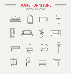 Set of furniture and home decor icons vector