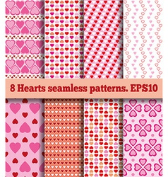 Set of hearts seamless patterns vector