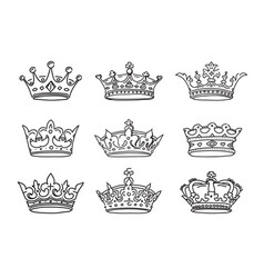 set of stylized images of the crowns icons vector image