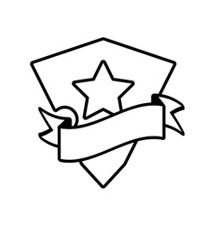 shield star stamp outline empty vector image