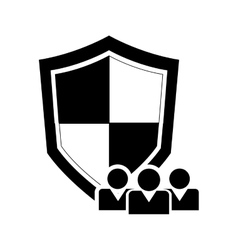 single shield and users icon vector image
