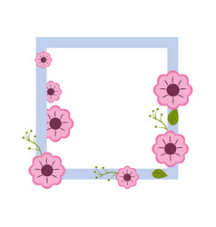 square border with flowers decoration vector image