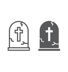 tombstone line and glyph icon halloween vector image