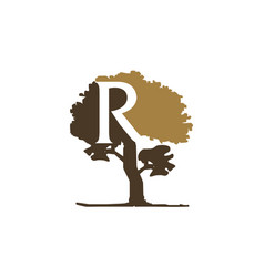 tree letter r vector image