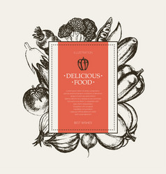 vegetables - hand drawn square banner vector image