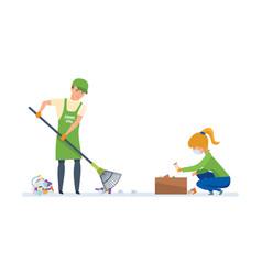 Volunteers engaged in cleaning of garbage vector