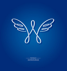 w letter monogram wings logo vector image