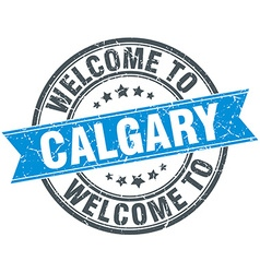 Welcome to Calgary blue round vintage stamp vector