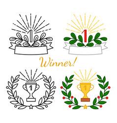 Winner awards set vector
