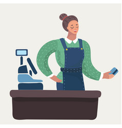 woman took a contact less payment vector image