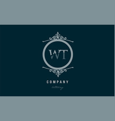 wt w t blue decorative monogram alphabet letter vector image