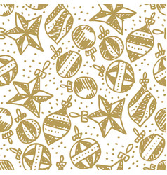 xmas tree naive style baubles seamless pattern vector image