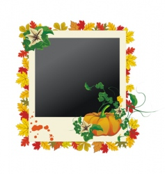 autumn grunge photo frame vector image vector image