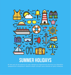 cruise set of summer holidays elements in flat vector image vector image