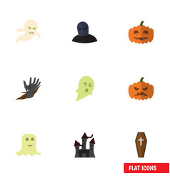 flat icon halloween set of zombie ghost fortress vector image