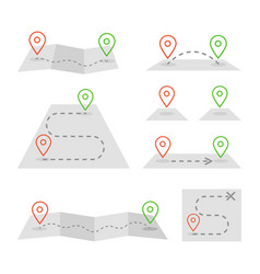 map markers and flat map icon set vector image vector image