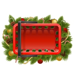 Shopping Basket with Christmas Baubles vector image