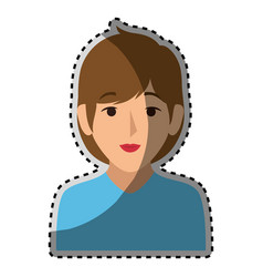 sticker colorful half body woman with short brown vector image vector image