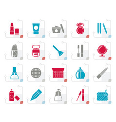 stylized make-up and cosmetics icons vector image