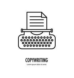 typewriter line logo vector image vector image