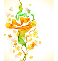 abstract floral background with wave vector image vector image
