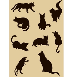cats silhouettes vector image vector image