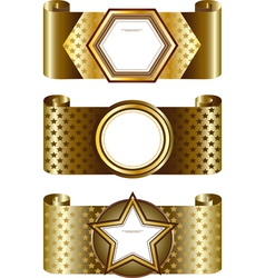 Golden frame on the background of the stars vector image