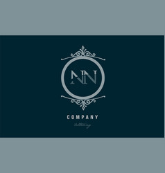 nn n n blue decorative monogram alphabet letter vector image