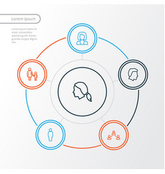 person outline icons set collection of social vector image vector image