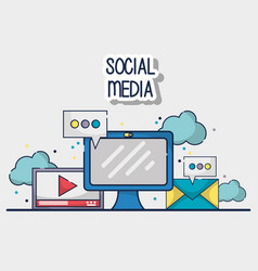 social media element to connection network vector image