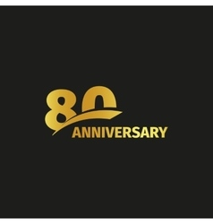 Isolated abstract golden 80th anniversary logo on vector