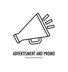 megaphone advertisement line vector image