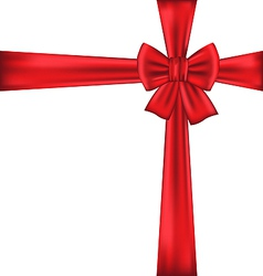 Red bow for packing gift vector image