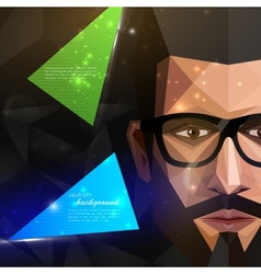 with man face in polygonal style modern poster vector image vector image