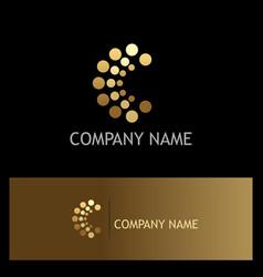 dot letter c gold logo vector image