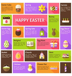 Flat Icons Infographic Happy Easter Concept vector image vector image